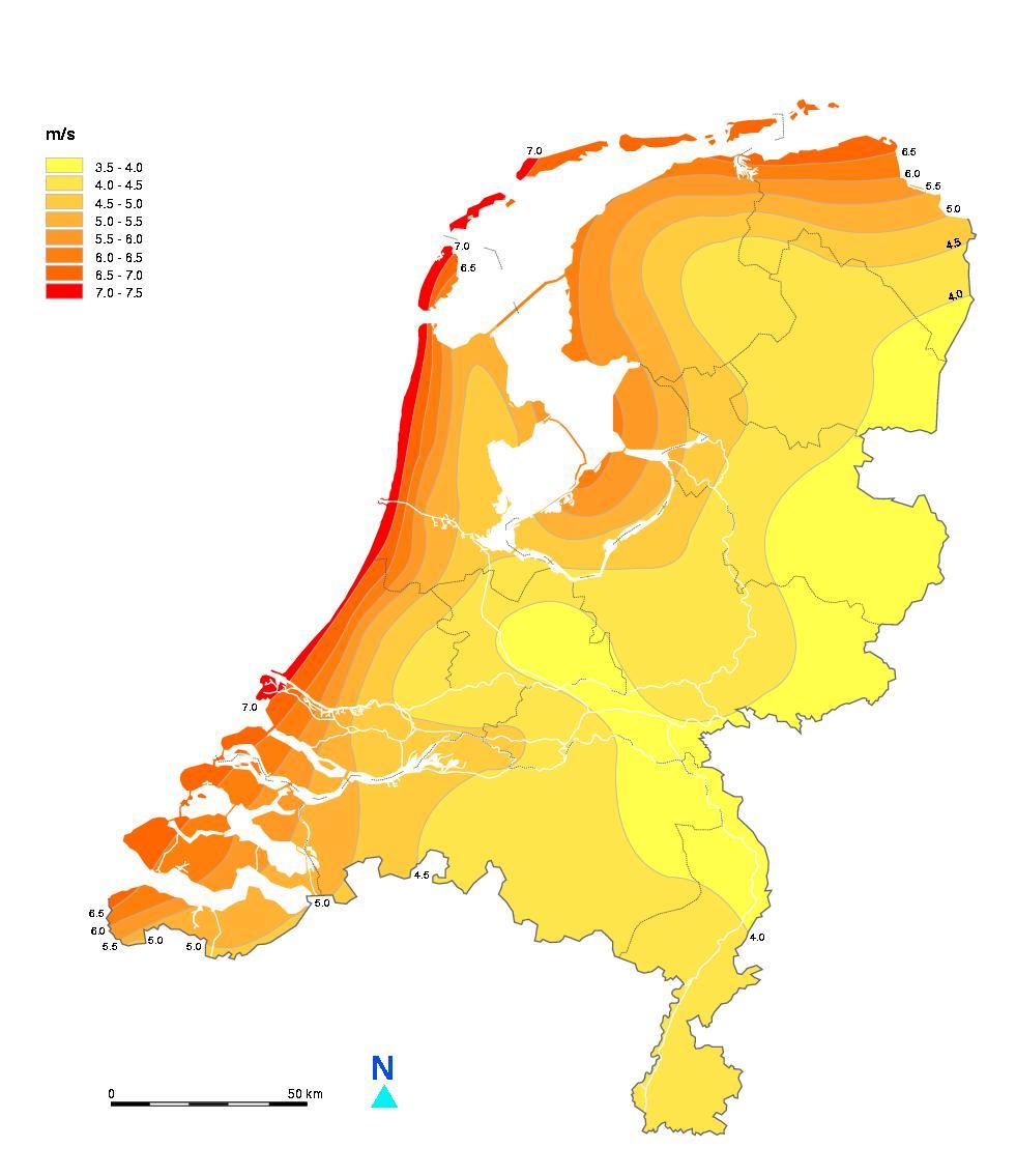 Windkaart Nederland